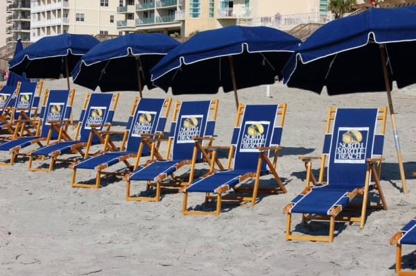 Beach Chairs Lined up in the Sand